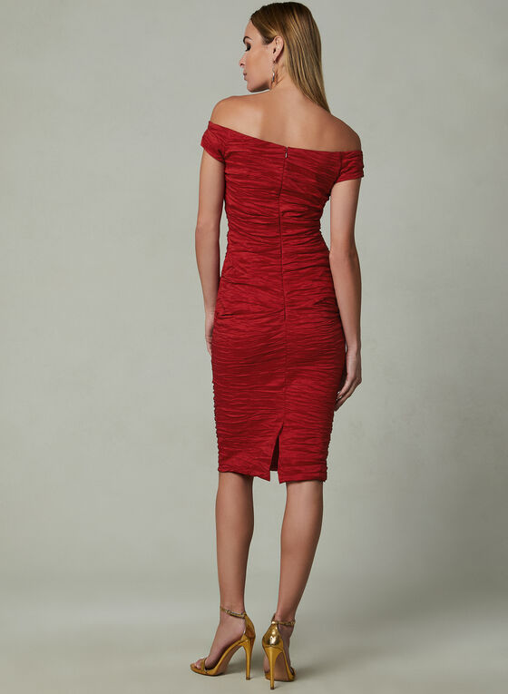 Alex Evenings - Off The Shoulder Sheath Dress, Red, hi-res