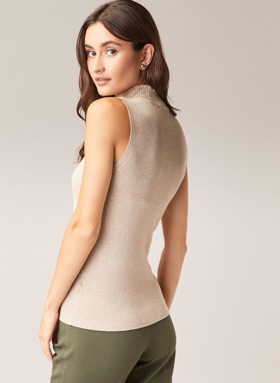 Mock Neck Sleeveless Sweater, Off White