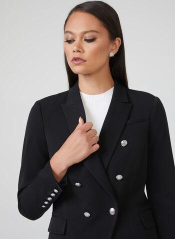 Metallic Button Notched Collar Blazer, Black, hi-res
