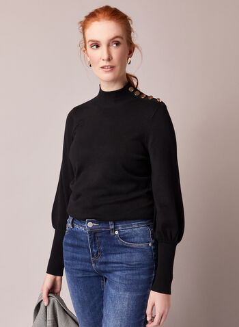 Button Detail Ruched Sleeve Sweater, Black,  fall winte 2020, sweater, mock neck, ruched sleeve, knit, long sleeve, button detail, comfort, stretch, warm