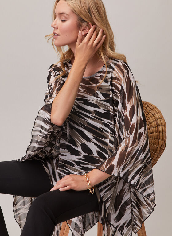Compli K - Animal Print Poncho Blouse, Black