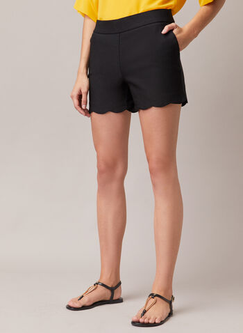 Scalloped Hem Shorts, Black,  shorts, scalloped hem, pockets, bengaline, spring summer 2020