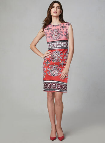 Vince Camuto - Paisley Print Dress, Red, hi-res,  Vince Camuto, day dress, midi, sheath, extended shoulders, paisley print, scuba, fall 2019, winter 2019