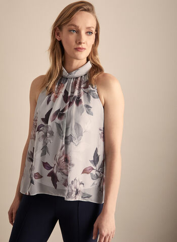 Joseph Ribkoff - Sleeveless Floral Print Blouse, Grey,  blouse, sleeveless blouse, floral print, halter blouse, halter top, spring 2002, summer 2020