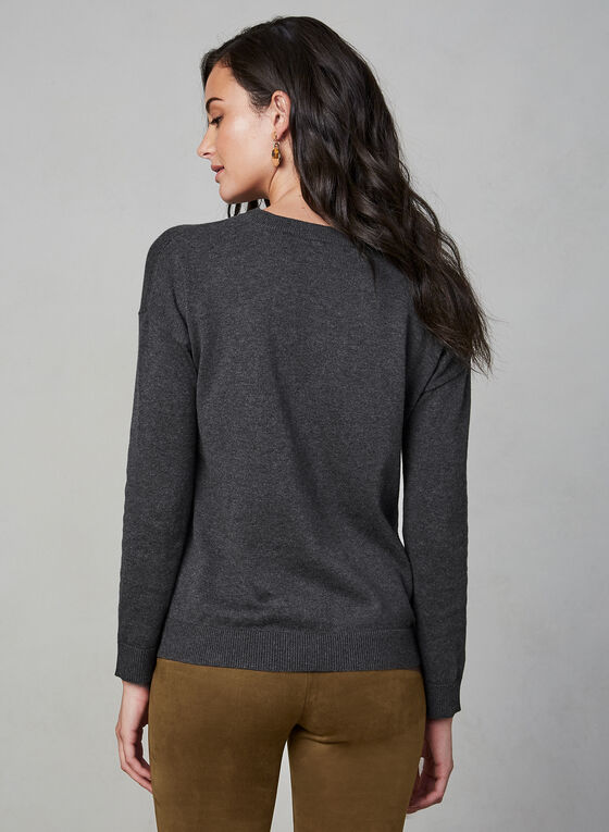 Spanner - Floral Detail Cotton Sweater, Grey