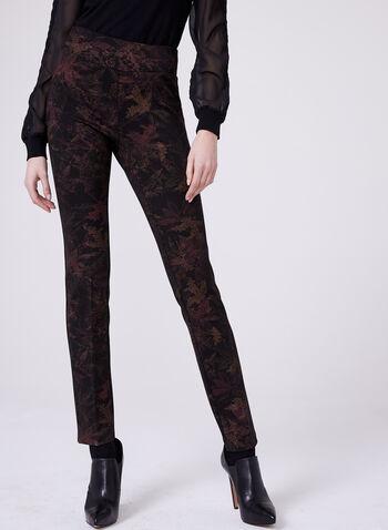 Pantalon à jambe droite à imprimé de feuilles, Rouge, hi-res