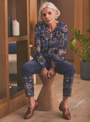 Jeans à jambe étroite et ourlet brodé , Bleu,  jeans, jambe étroite, broderies, sequins, mi-haute, coton, printemps été 2020