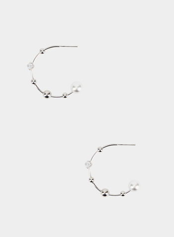 Metal Open Hoop Earrings, Silver,  hoop earrings, pearl, metal, fall 2019