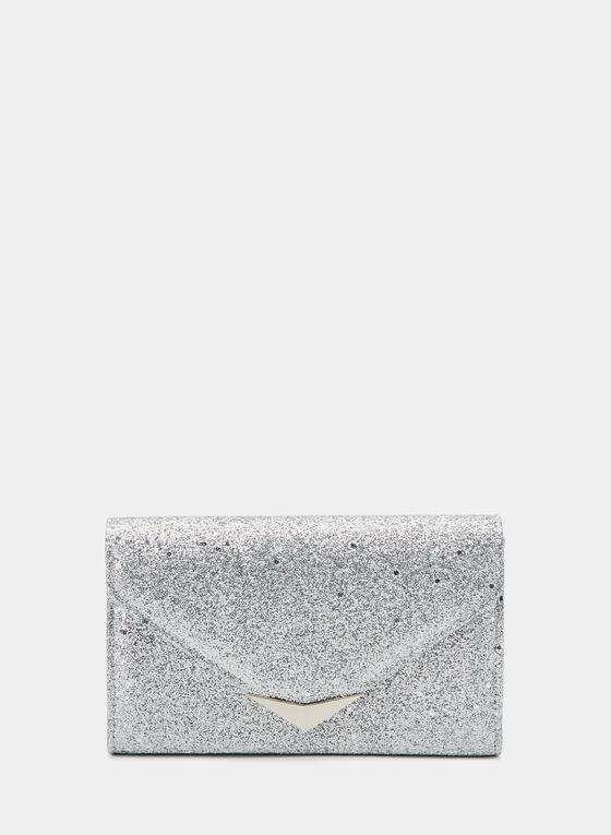 Glitter Envelope Clutch, Silver, hi-res