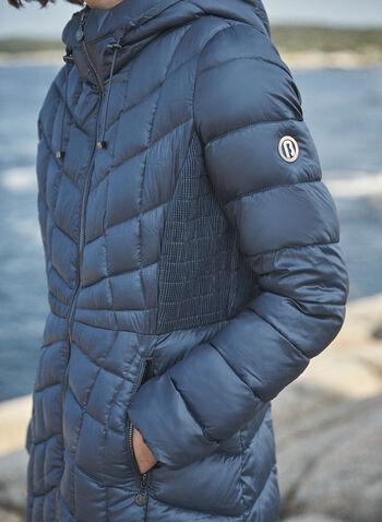 Bernardo - Manteau compressible EcoPlume™, Bleu,  automne hiver 2021, manteau, manteau d'hiver, compressible, matelassé, capuchon, EcoPlume, cintré, poches, zip, glissière, Bernardo, duvet, végane