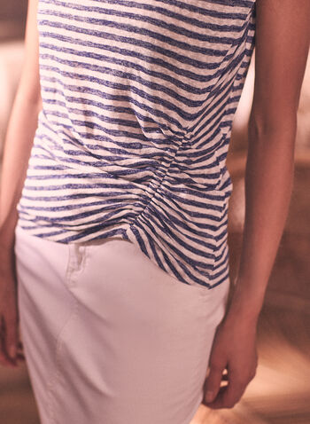 Stripe Print Cinched Tee, Blue,  spring summer 2021, made in Canada, t-shirts, t shirts, crew neck, scoop neck, ruched,