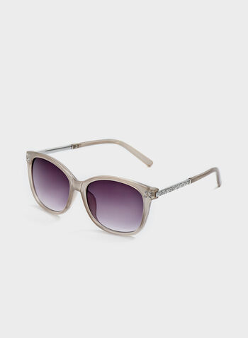 Crystal Detail Plastic Sunglasses, Off White, hi-res