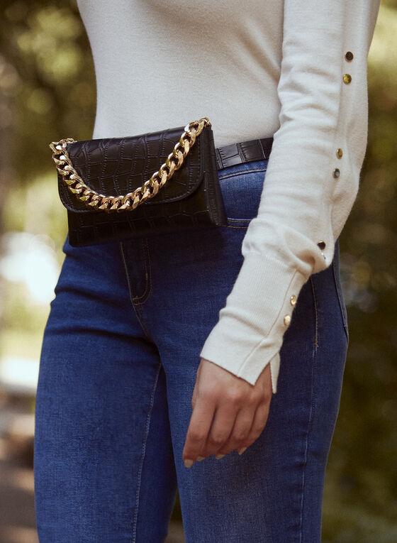 Convertible Crocodile Motif Belt Bag, Black