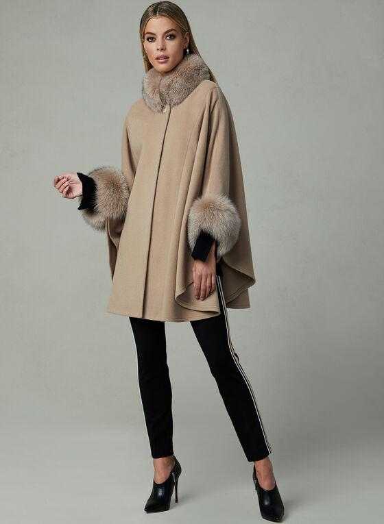 Mallia - Cape en laine à détails de fourrure, Brun