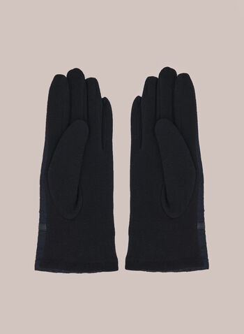 Quilted Gloves With Buckle, Blue,  fall winter 2020, nylon, textured, quilted, buckle