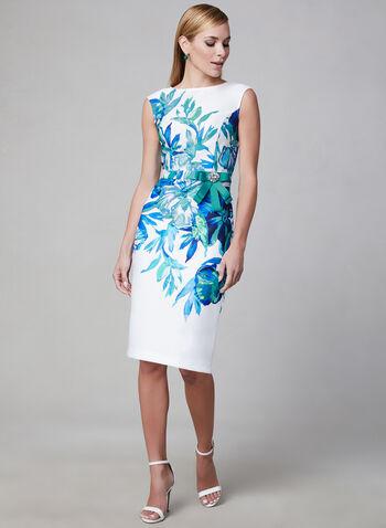 Joseph Ribkoff - Robe à imprimé floral, Blanc, hi-res