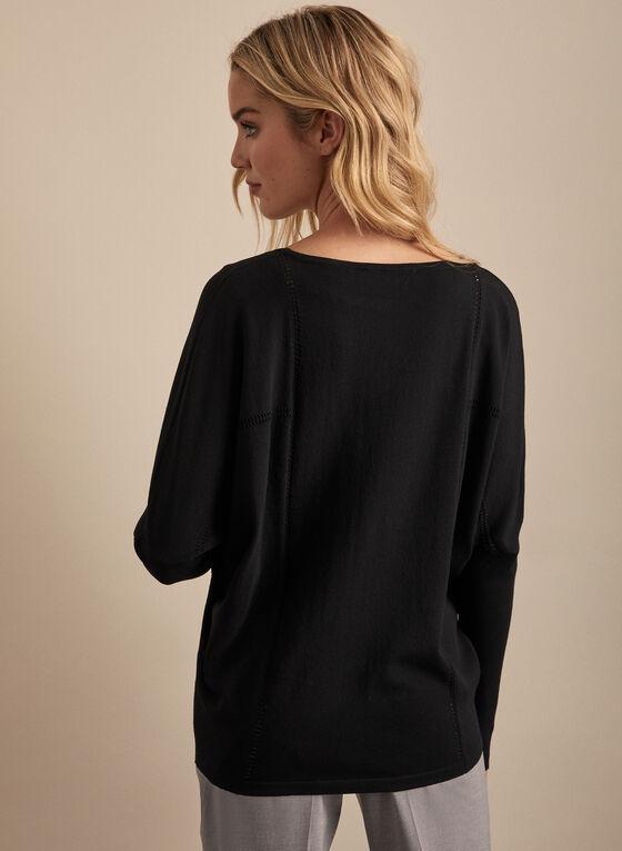 Pull en tricot à manches chauve-souris, Noir