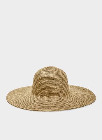 Large Straw Hat With Metallic Detail, Gold, hi-res