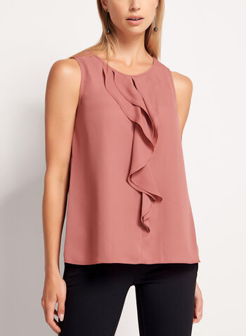 Keyhole Neck Ruffle Front Blouse, Pink, hi-res