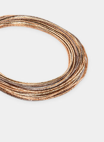 Collier métallisé à plusieurs rangées, Jaune, hi-res