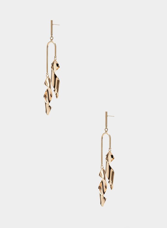 Twist Dangle Earrings, Gold, hi-res