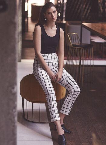 Pantalon Amber à carreaux, Blanc,  printemps été 2020, pantalon, Amber, jambe étroite, carreaux, motif, carreauté, poches, crêpe