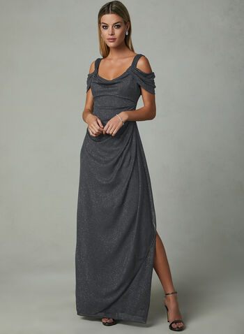 Ignite Evenings - Cold Shoulder Glitter Dress, Grey, hi-res