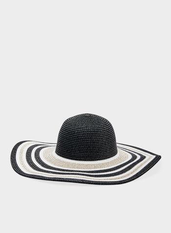 Chapeau capeline en paille rayée, Noir, hi-res