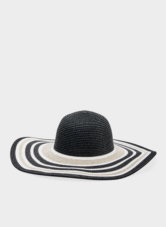 Stripe Print Large Straw Hat, Black, hi-res