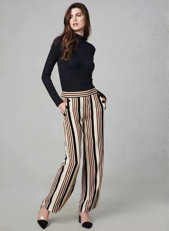 Stripe Print Wide Leg Pants, White,  pants, wide leg, palazzo, pull on, stripe print, fall 2019, winter 2019