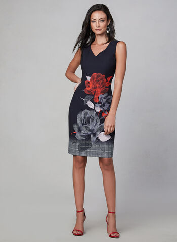 Frank Lyman - Floral Print Sheath Dress, Black, hi-res,  day dress, sleeveless, fall winter 2019, v-neck