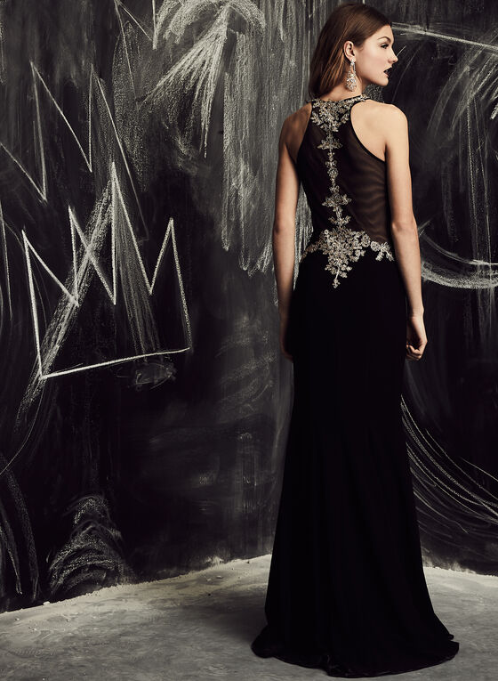 BA Nites - Embellished Appliqué Gown, Black, hi-res
