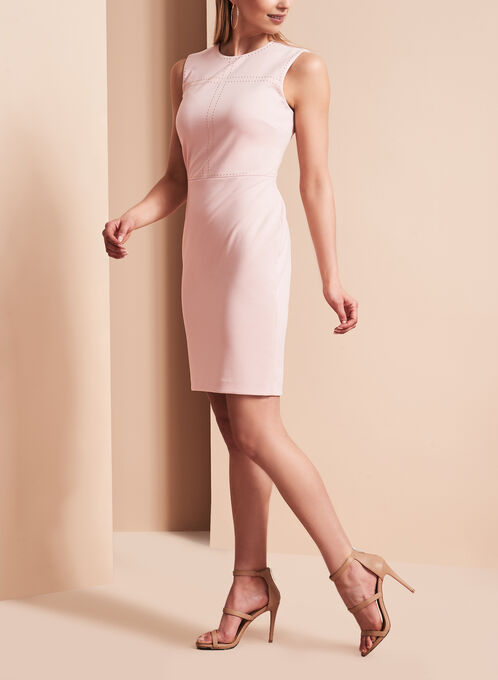 Ivanka Trump Studded Ponte Dress, Pink, hi-res