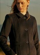 Manteau boutonné en laine mélangée, Bleu
