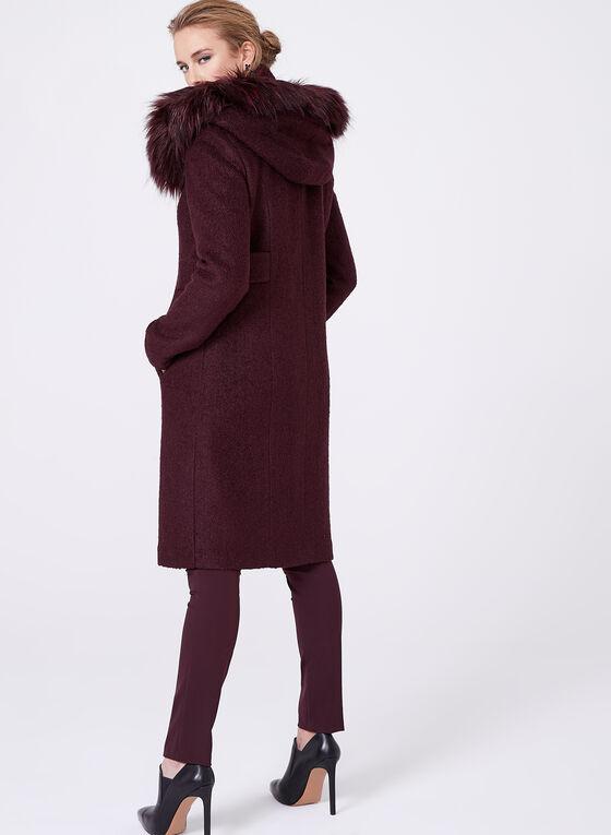 Faux Fur Trimmed Wool Blend Coat, Purple, hi-res