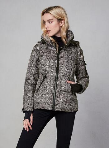 Novelti - Leopard Print Down Coat, Brown, hi-res,  fall winter 2019, faux down, hooded, leopard print