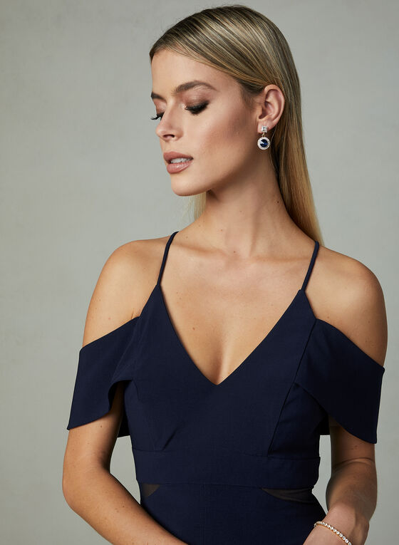 BA Nites - Cold Shoulder Dress, Blue, hi-res