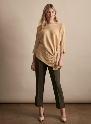 Vince Camuto - Twist Detail Rib Knit Sweater, Brown,  sweater, rib knit, dolman sleeves, 3/4 sleeves, twist, asymmetric, boat neck, spring summer 2020