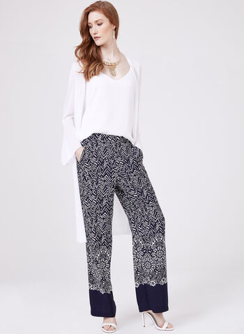 Pantalon pull-on à motif abstrait et jambe large, Bleu, hi-res