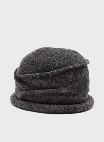Pleated Wool Hat, Grey, hi-res