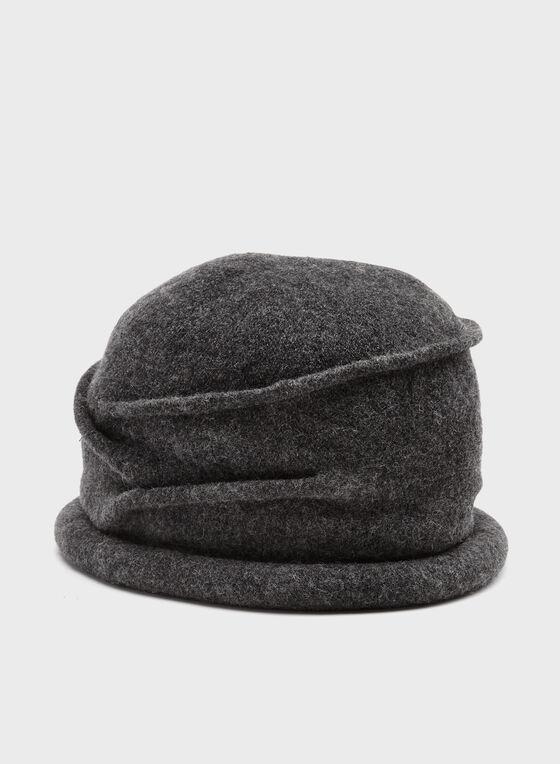 Tuque tricot en laine plissée et retroussée, Gris, hi-res