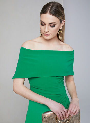 Vince Camuto - Off-the-Shoulder Dress, Green, hi-res,  sheath, spring 2019, midi, stretchy