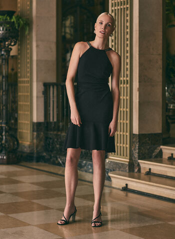 Flounced Hemline Cocktail Dress, Black,  dress, wrap, apron neck, embellished, beaded, open back, scuba, flounce, cocktail, spring summer 2020