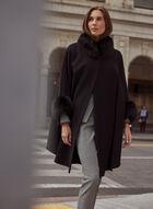 Mallia - Wool Blend & Fur Cape, Black