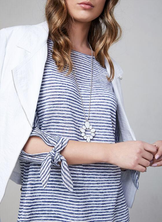 Pure Essence - Stripe Print ¾ Sleeve Top, Blue, hi-res