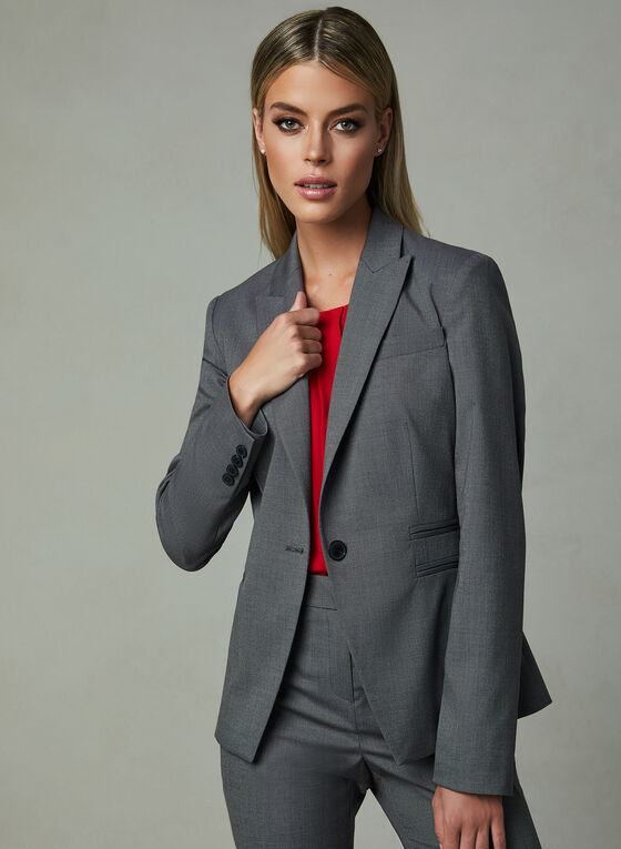 Louben - Notched Collar Blazer, Grey, hi-res