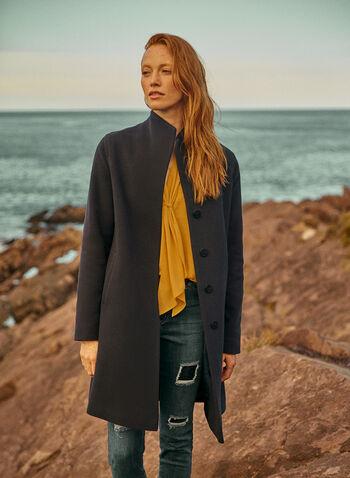 Mallia - Wool & Cashmere Blend Coat, Blue,  coat, high collar, pockets, wool, cashmere, fall winter 2020