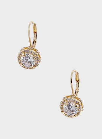 Crystal Stud Earrings, Gold, hi-res