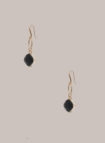 Faceted Stone Dangle Earrings, Black,  dangle earrings, stone, faceted, fall winter 2020