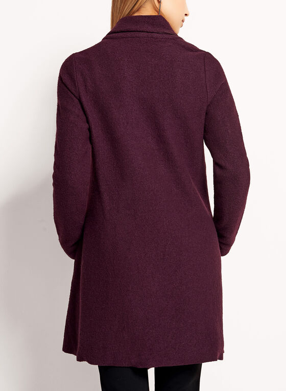 Asymmetric Wool Coat, Red, hi-res